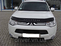 Дефлектор капота (мухобойка) Mitsubishi Outlander 2012- , на крепежах