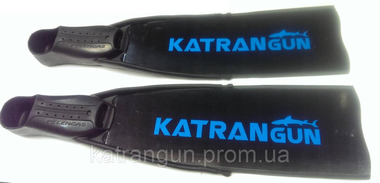 Стеклопластиковые ласты подводной охоты KatranGun Black; в калошах Pelengas