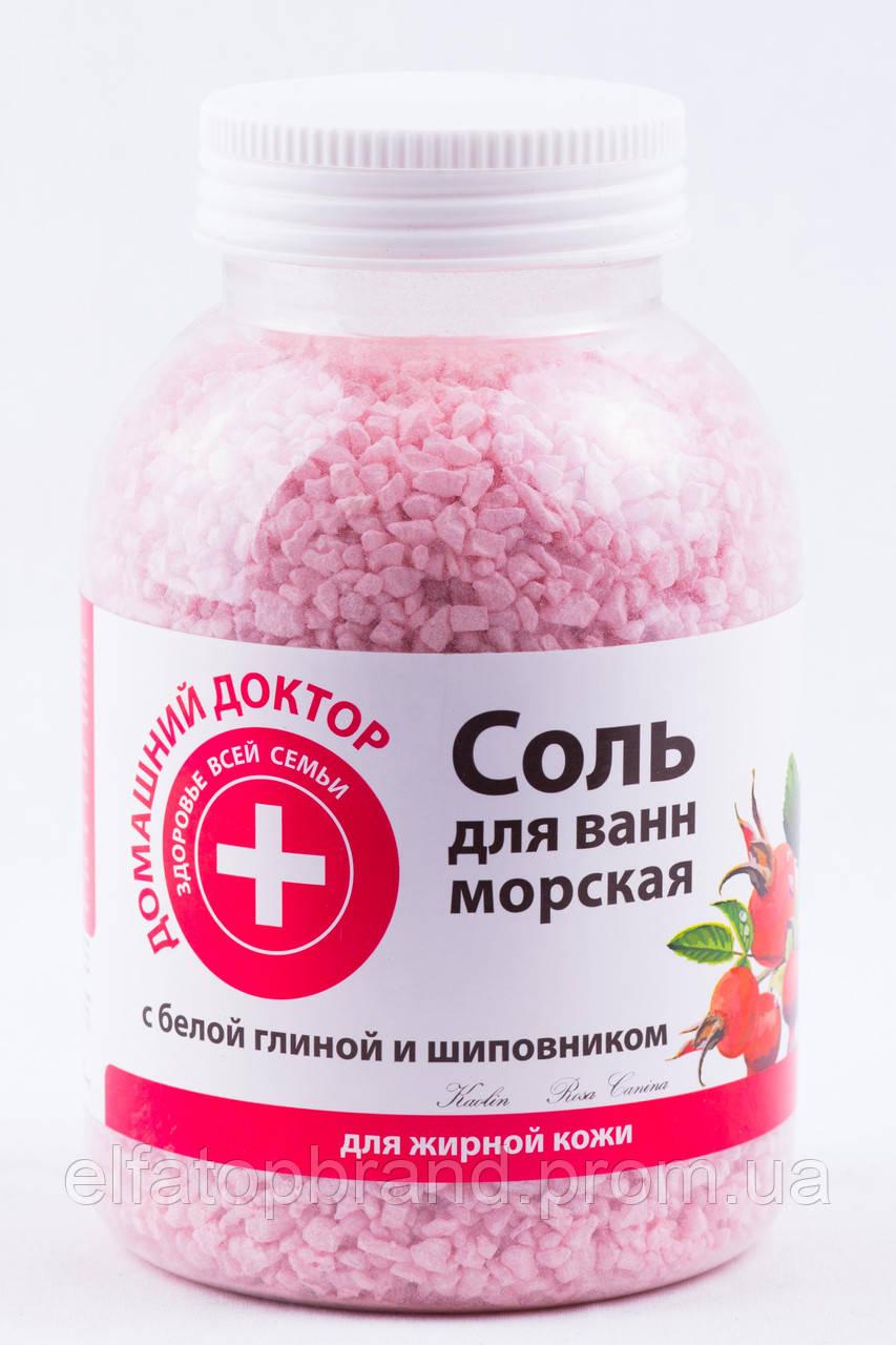 Соль для ванн      Домашний доктор  с белой глиной и шиповником, 1000 г