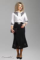 Женская черная юбка  большого размера с перфорацией  1999 Seventeen  52-58  размеры