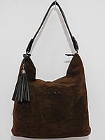 Стильная женская сумка замшевая шоколад, фото 1