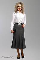 Трикотажная серая юбка  большого размера 1998 Seventeen  52-58  размеры