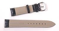 Ремешок для часов кожаный, черный,  20 мм