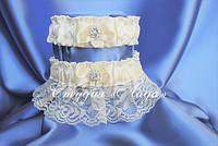 """Подвязка на свадьбу """"Голубь"""", с брошью, цвет голубой, айвори, белый набор сладкая и счастливая"""