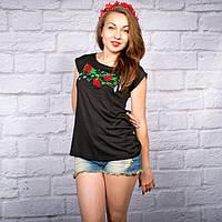 Жіноча футболка трикотажна на чорному фоні  42-52 рр