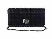 Бархатный клатч в стиле Chanel (черный) №9968
