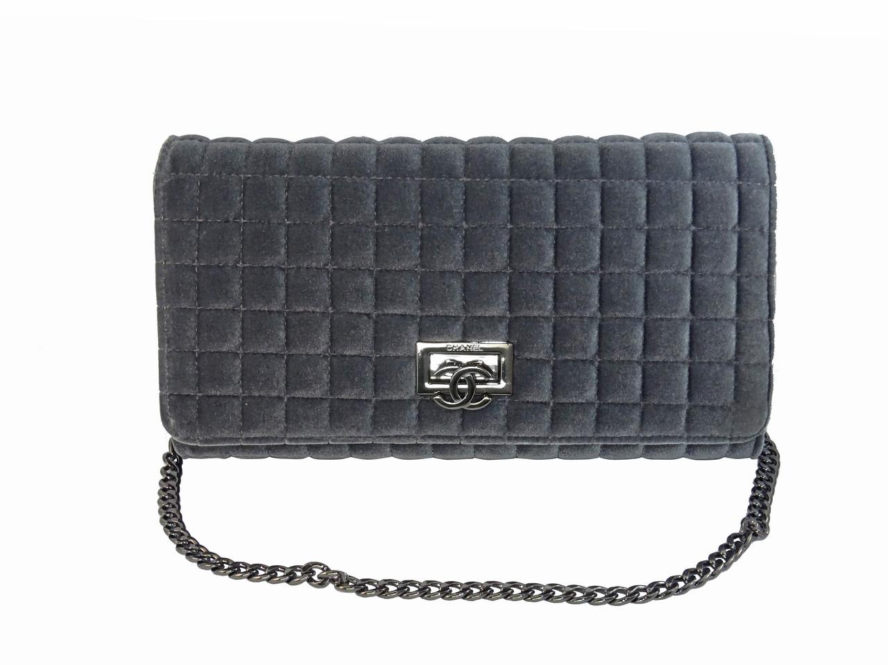 3879e70e71f9 Бархатный клатч в стиле Chanel (серый) №9968, цена 1 070 грн ...