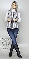 Жилет меховой женский. Пряжка, цвет: Норка серо-голубая № 21