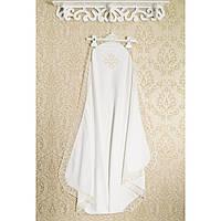 Крыжма для крещения в роддом.3102gerda+kay.С кружевом и вышивкой трикотаж, интерлок белый или бежевый 90x95см.
