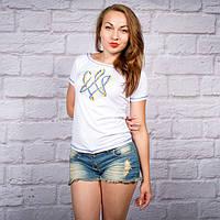 """Жіноча футболка з вишивкою """"Тризуб""""  42-52 рр"""