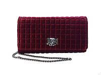 Бархатный клатч в стиле Chanel (бордовый) №9968
