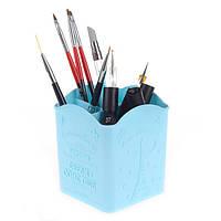 Подставка для кистей и пилок на 4 секции,пластик, голубой