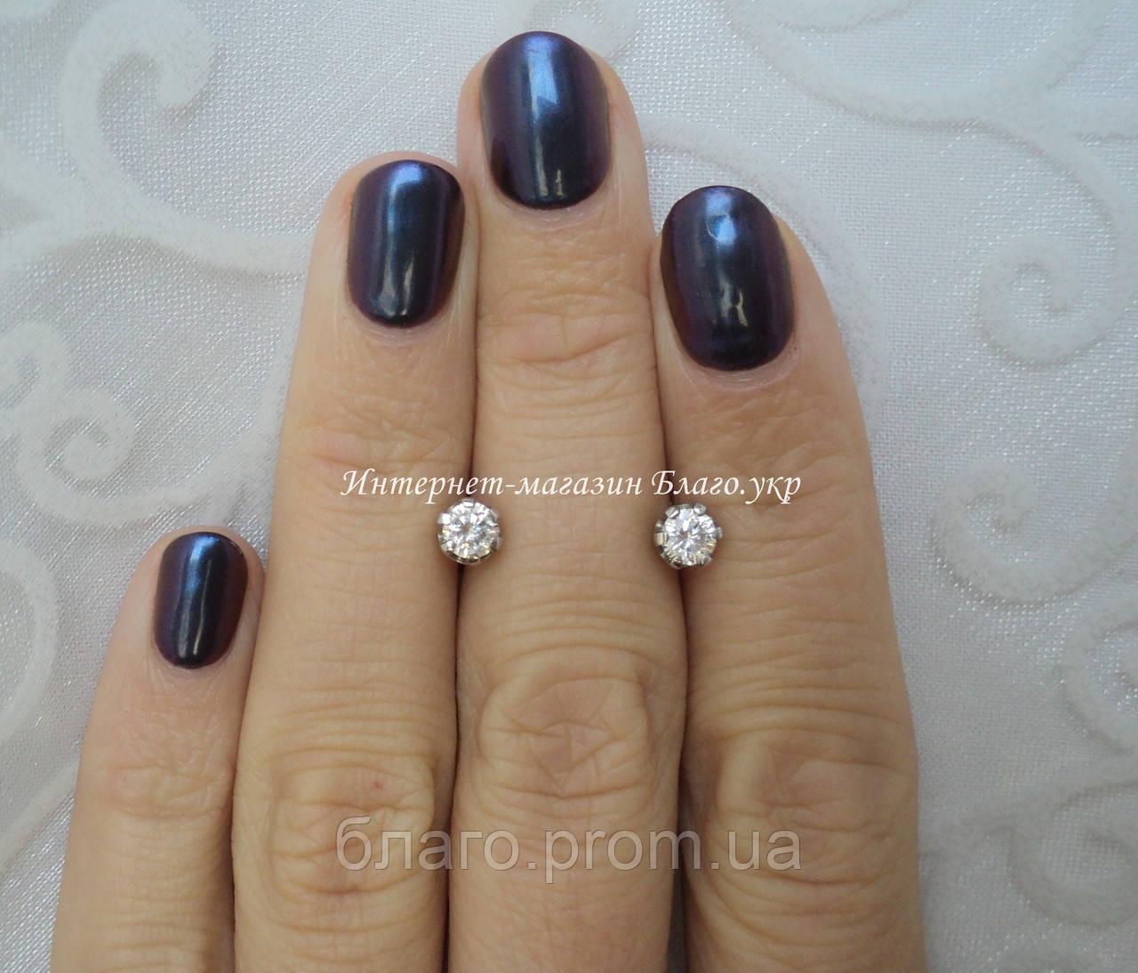 Серебряные серьги-гвоздики с камнями - родированные