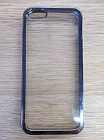 Силиконовый чехол для Apple iPhone 5/5s/5se, прозрачный с графитовыми краями