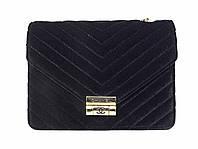 Бархатная сумочка в стиле Chanel (черный) №9954