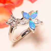 Кольцо с голубым австрал. опалом (лаб) цветок
