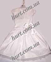 Белое платье  с нежным узором и бантиком для для девочек 0230