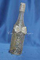 """Декорирование свадебного шампанского кружевной тканью """"Венера"""""""