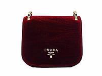 Бархатная сумочка в стиле Prada (бордовая)  №9807-R