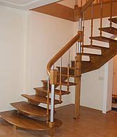 Лестница для дома поворотная открытая из дерева, фото 1