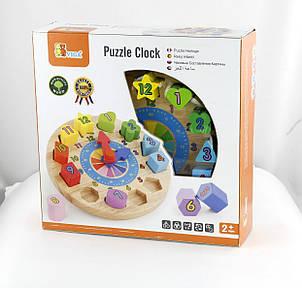 Развивающие и обучающие игрушки «Viga Toys» (59235VG) деревянный пазл Часы, фото 2