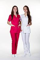 """Білий  однотонний   медичний костюм """"Грація """"(коттон)"""