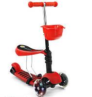 Детский трехколесный Самокат-Беговел QD-Scooter 3 в 1 красный