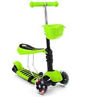 Детский трехколесный Самокат-Беговел QD-Scooter 3 в 1 зеленый