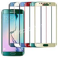 Защитное стекло изогнутое на экран Green для Samsung S6 edge влажная/сухая салфетки, BOX
