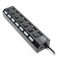 Хаб USB 2.0 7 портов, Black, 480Mbts High Speed, Доп блок питания, Blister
