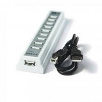 Хаб USB 2.0 10 портов SLIM, 6+4 Port, White, 480Mbts High Speed, Passive, Blister