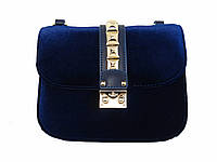 Бархатная сумочка в стиле Valentino (темно-синяя)  №9020-3-R