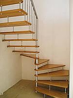 Лестница деревянная подвесная поворотная с забежными ступенями, фото 1