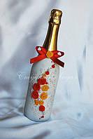 """""""Краски осени"""", шампанское для свадьбы, с цветами из пластика, в украинском стиле"""