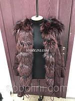 Парка с мехом норвежской чернобурки, цвет плащевки марсала, длина 75см, 44 размер в наличии в щоу руме Харьков