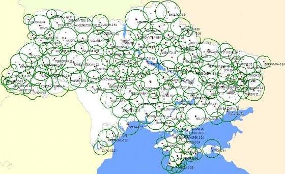 Расположение передатчиков и номера ТВ каналов Т2 телевидения в Украине