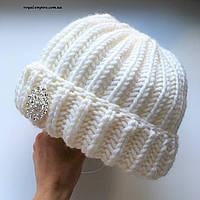"""Тёплая шапка крупной вязки """"Виктория"""", ручная работа, разные цвета."""
