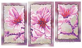 """Схема-триптих для вышивки бисером на подрамнике (модульная картина) """"Прекрасная магнолия"""""""