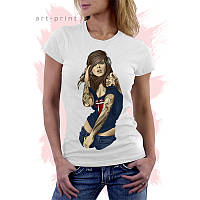 Женская белая футболка с рисунком GIRL TATTOO