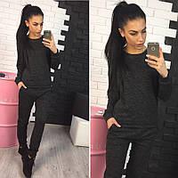 Женский стильный костюм черного цвета, фото 1