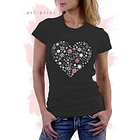 Футболка жіноча чорна з серцем і квітами FLORAL HEART2, фото 1