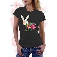 Женская черная футболка с принтом BUNNY FLOWERS