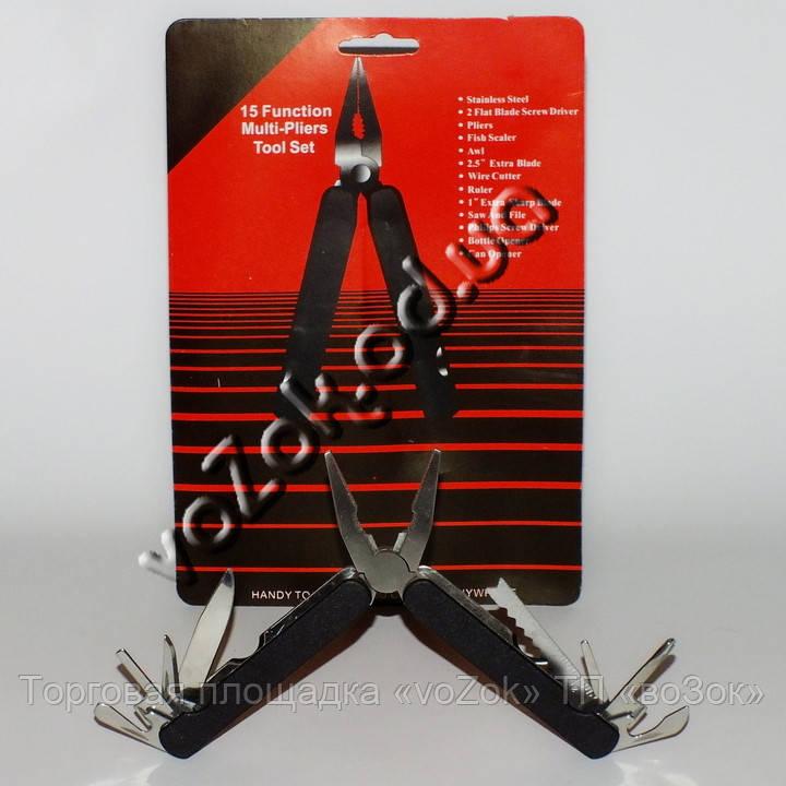 Нож мультитул многофункциональный универсальный 15 Function Multi-Pliers Tool Set с чехлом