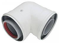 Коаксиальные колено (угол) папа-мама для турбированых котлов 60/100 90°