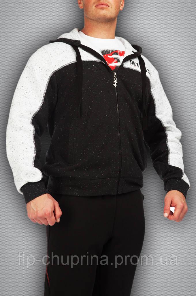 Мужская толстовка черная с белым