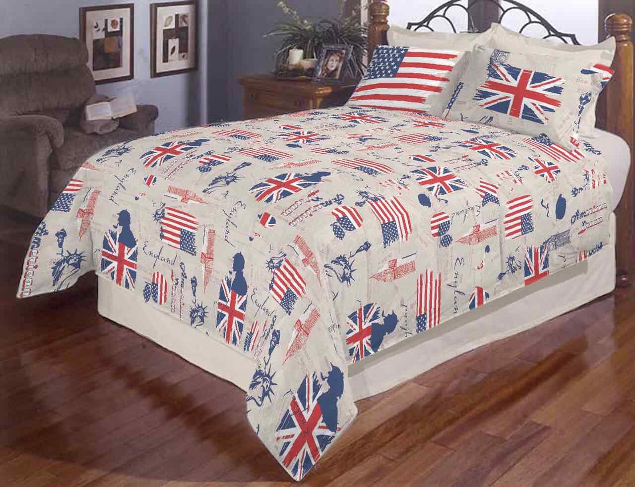 Тканина бязьGold  Прапор Америки  сірий