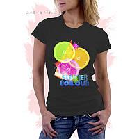 Женская черная футболка с рисунком SUMMER COLOUR