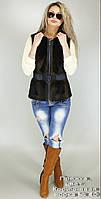 Жилет меховой женский Пряжка, цвет: Коричневая норка № 40