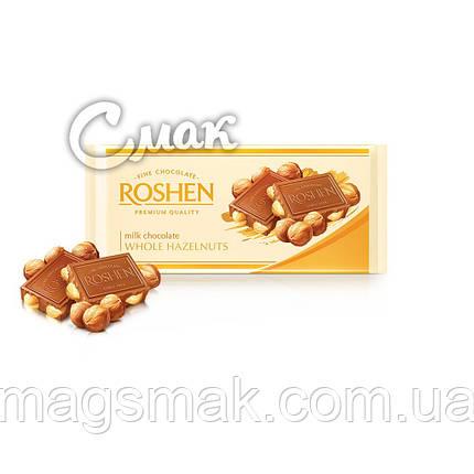 Шоколад Рошен Молочный с целыми лесными орехами, 100 г, фото 2