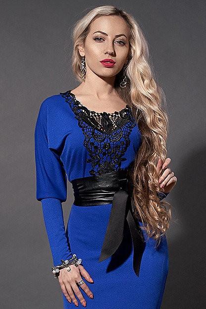 adf4b70a3af Женское трикотажное платье с отделкой из кружева - Оптово-розничный  интернет-магазин Fashion Way